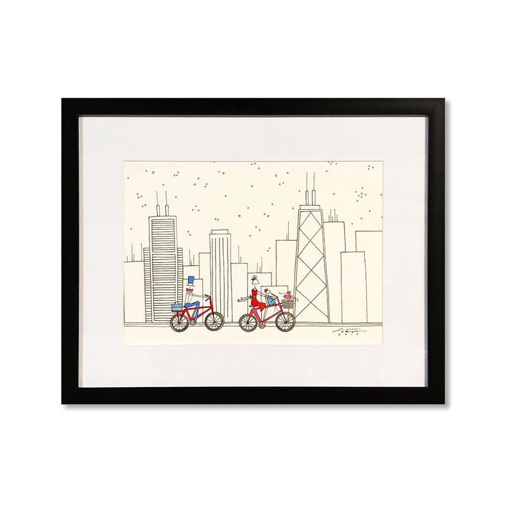 """BIKING THE CITY"" ORIGINAL PAINTING"