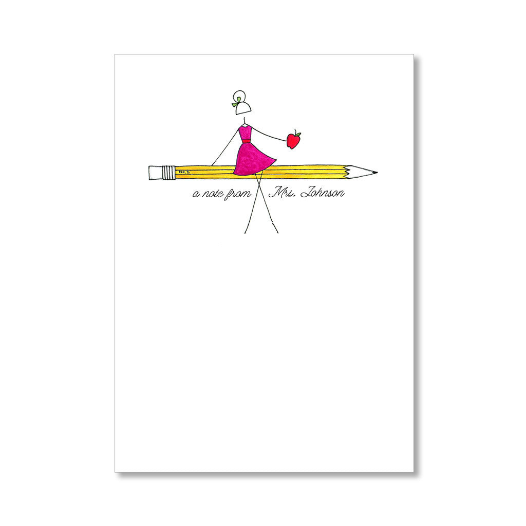 """NO. 2 PENCIL, NO. 1 TEACHER"" PERSONALIZED STATIONERY"