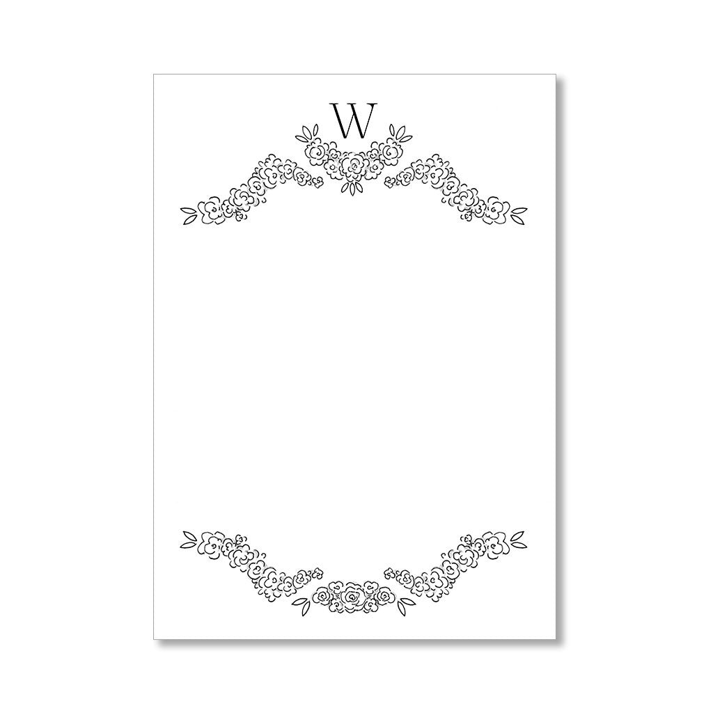 """FLORAL MONOGRAM: LARGE"" PERSONALIZED STATIONERY"
