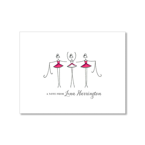 """THREE BALLERINAS"" PERSONALIZED STATIONERY"