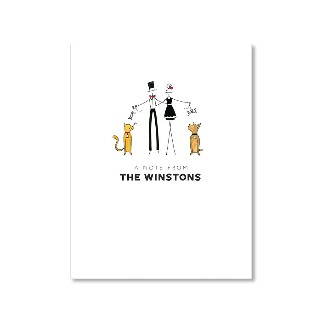 """YELLOW CAT & A LITTLE DOG"" PERSONALIZED STATIONERY"