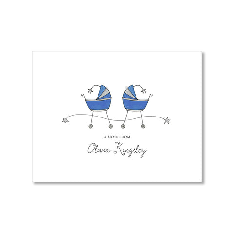 """TWIN STROLLERS"" PERSONALIZED STATIONERY"