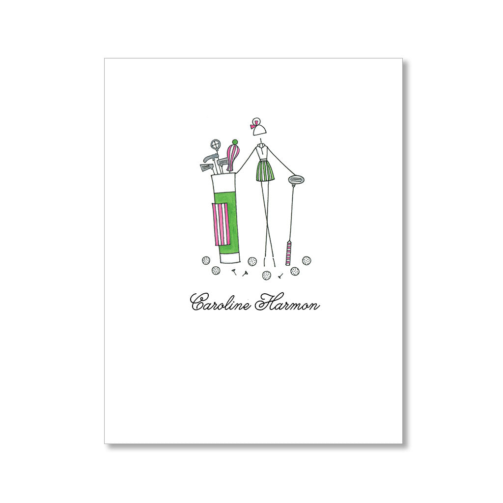 """THE GOLFING GIRL"" PERSONALIZED STATIONERY"