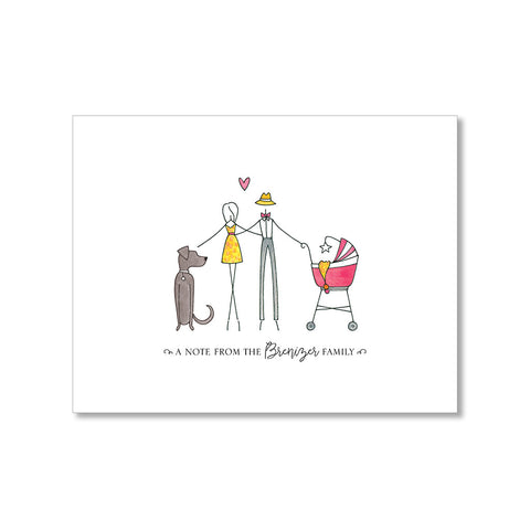 """FAMILY WITH TWO DOGS"" PERSONALIZED STATIONERY"