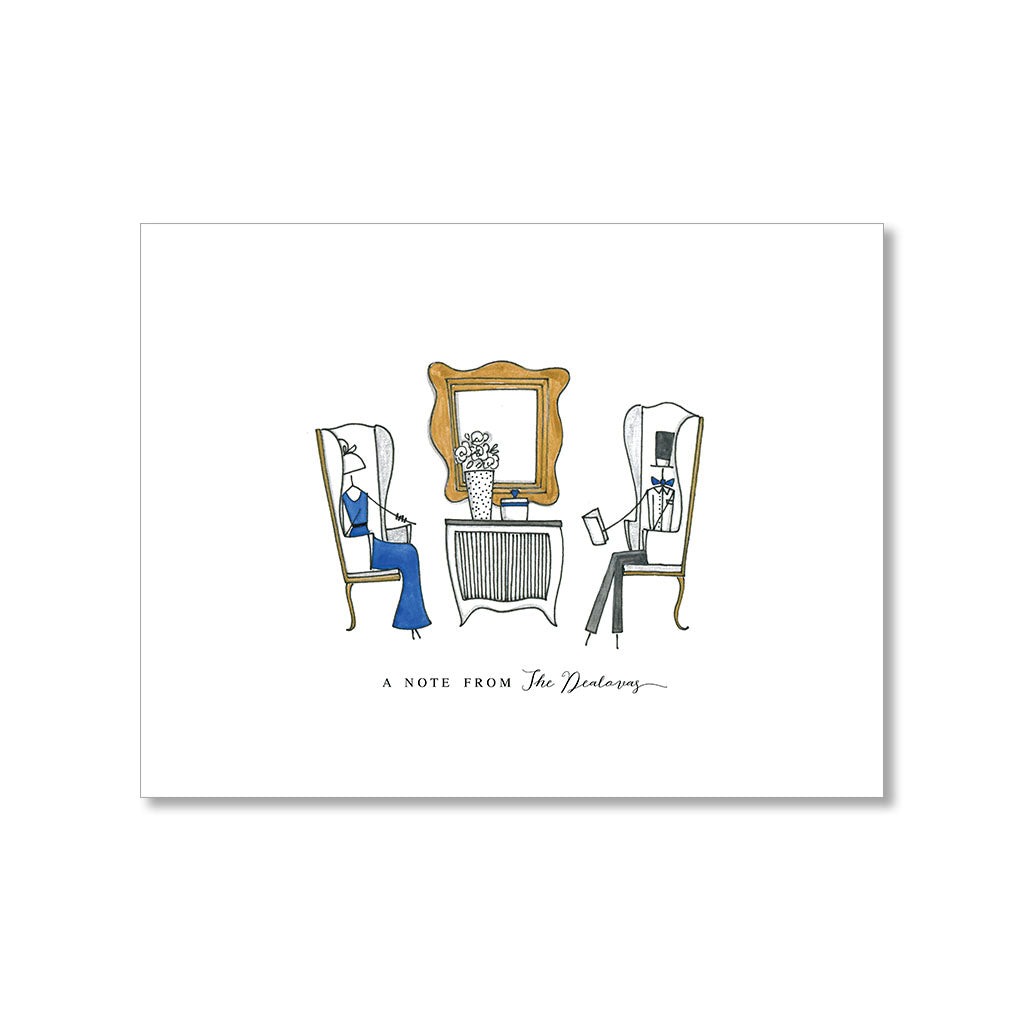 """WING CHAIRS"" PERSONALIZED STATIONERY"
