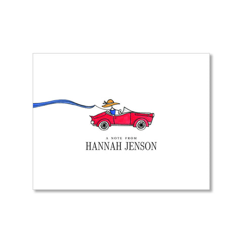 """RED CONVERTIBLE"" PERSONALIZED STATIONERY"