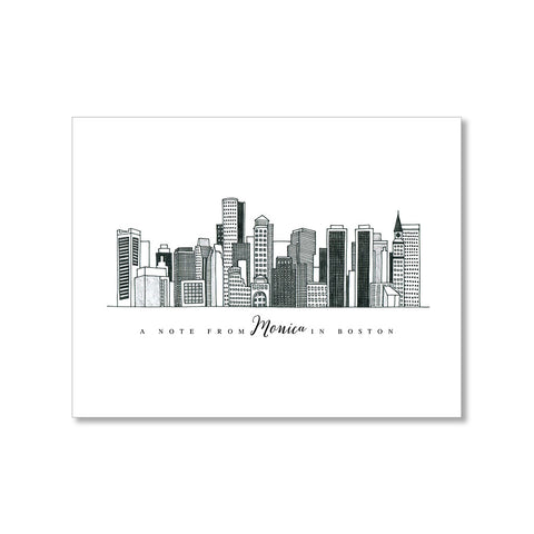 """BOSTON SKYLINE"" PERSONALIZED STATIONERY"