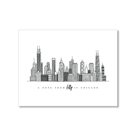 """CHICAGO SKYLINE"" PERSONALIZED STATIONERY"
