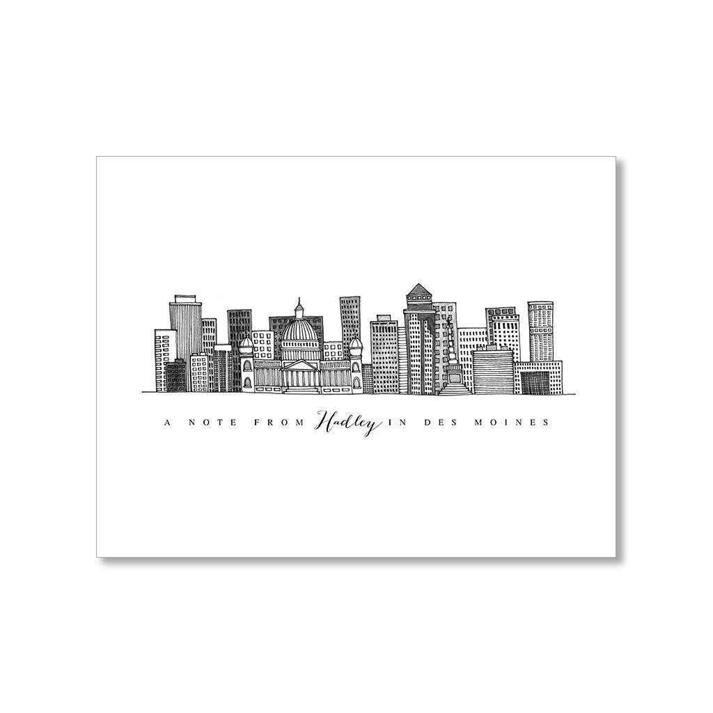 """DES MOINES SKYLINE"" PERSONALIZED STATIONERY"
