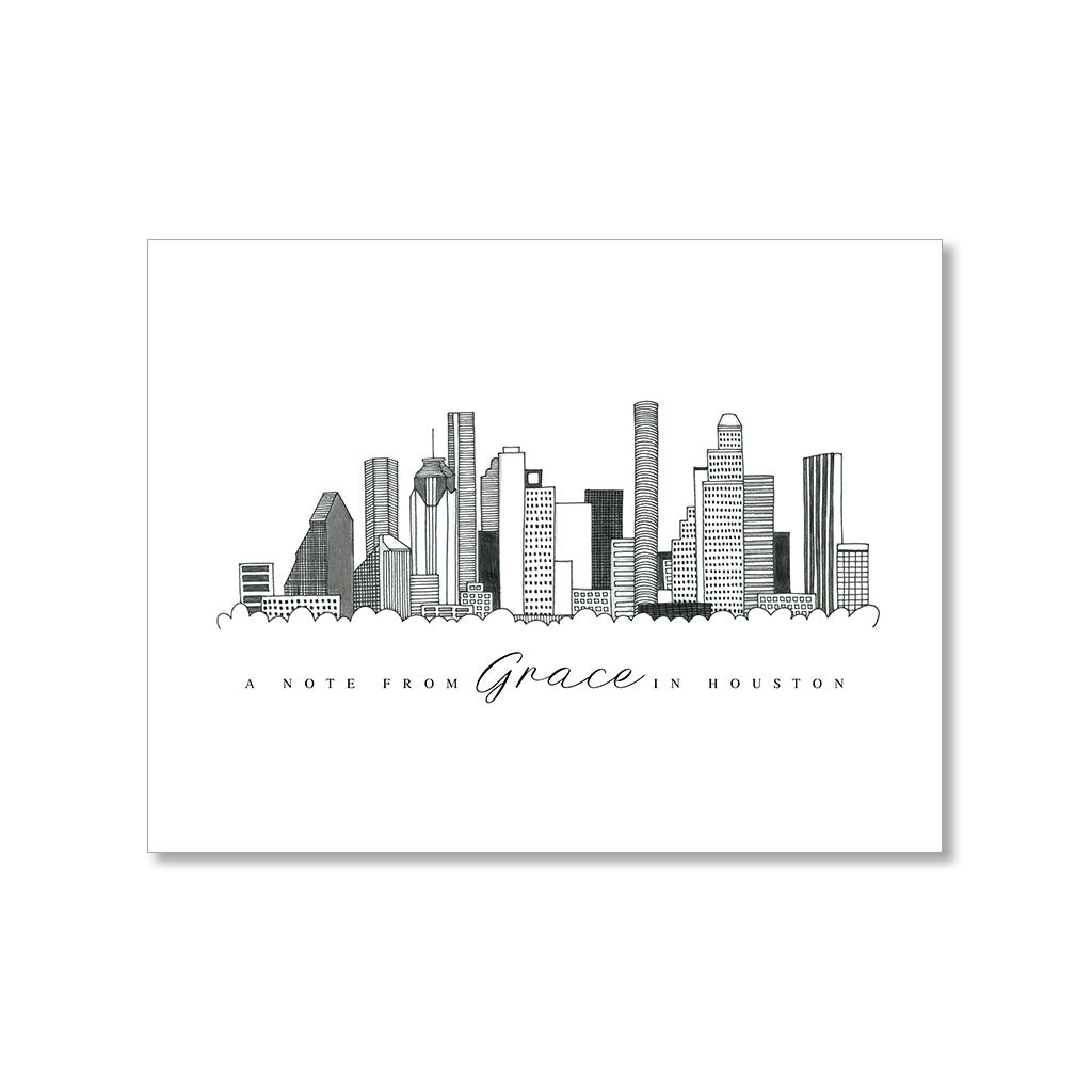 """HOUSTON SKYLINE"" PERSONALIZED STATIONERY"