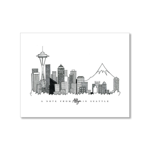 """SEATTLE SKYLINE"" PERSONALIZED STATIONERY"
