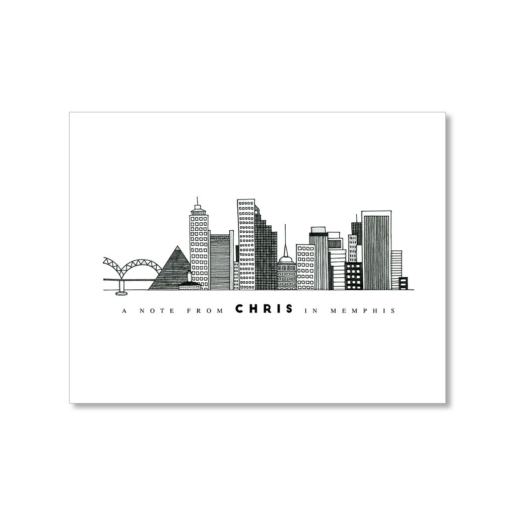 """MEMPHIS SKYLINE"" PERSONALIZED STATIONERY"