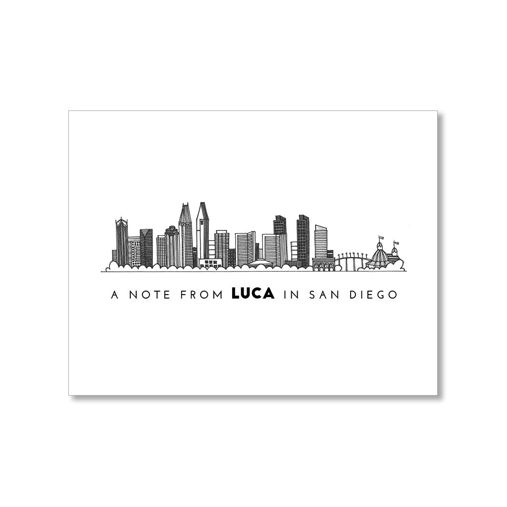 """SAN DIEGO SKYLINE"" PERSONALIZED STATIONERY"