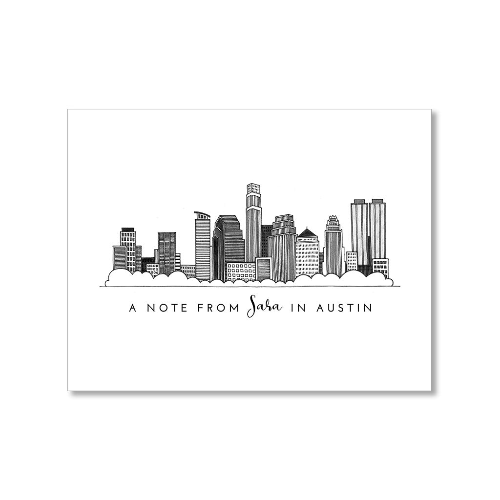 """AUSTIN SKYLINE"" PERSONALIZED STATIONERY"