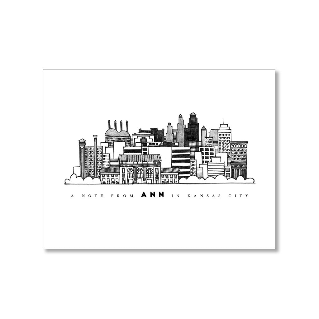 """KANSAS CITY SKYLINE"" PERSONALIZED STATIONERY"
