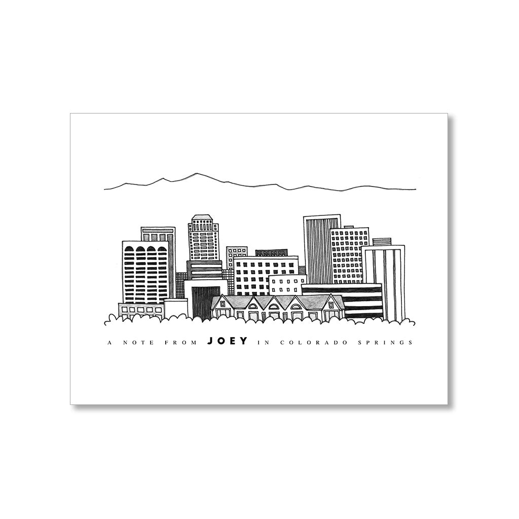 """COLORADO SPRINGS SKYLINE"" PERSONALIZED STATIONERY"