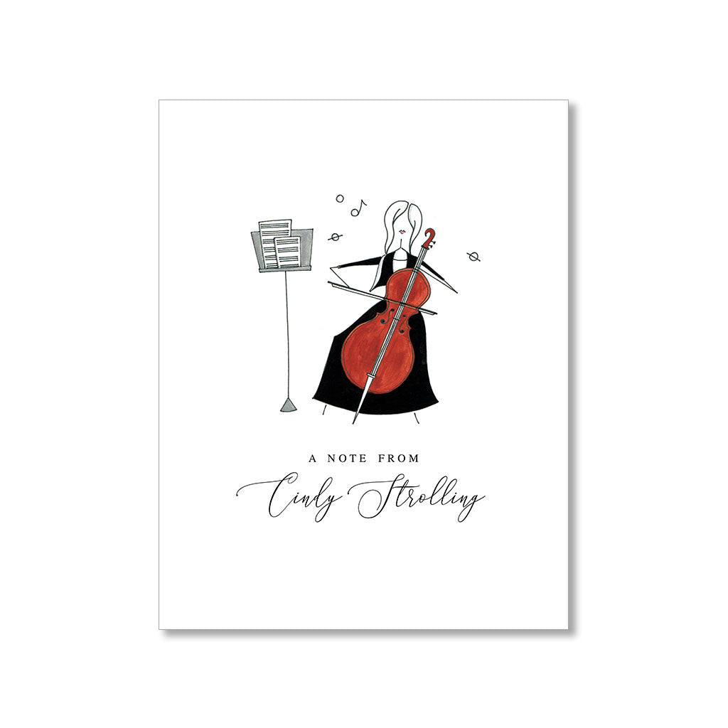 """THE CELLIST: MISSES"" PERSONALIZED STATIONERY"