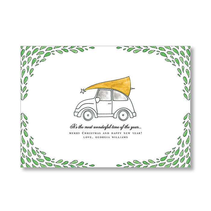 """VW BUG"" PERSONALIZED HOLIDAY CARD"