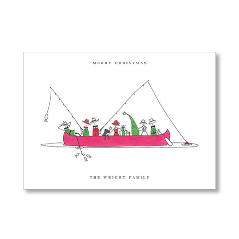 """CHRISTMAS CANOE"" PERSONALIZED HOLIDAY CARD"