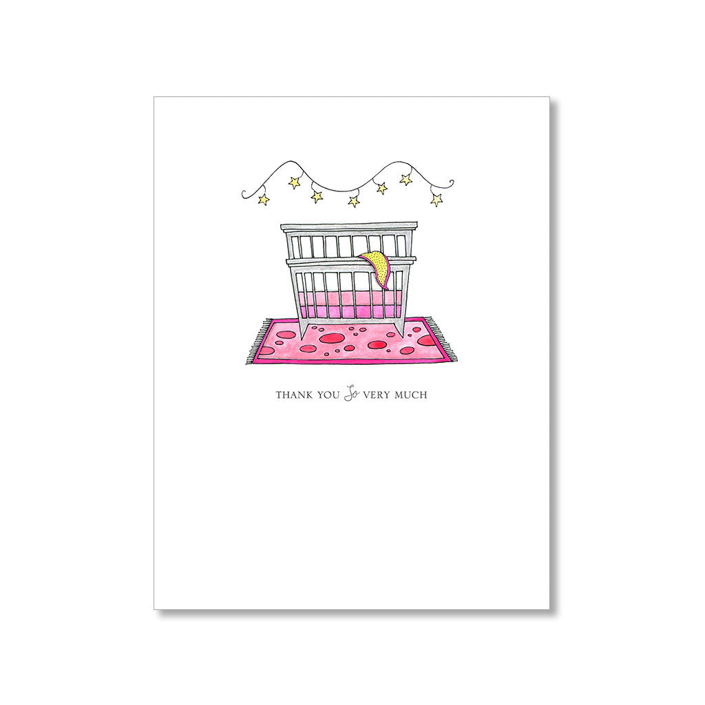 """WHIMSICAL CRIB"" THANK YOU CARD"