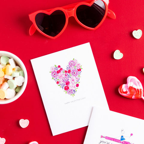 """FLOWER HEART"" VALENTINE'S DAY CARD"