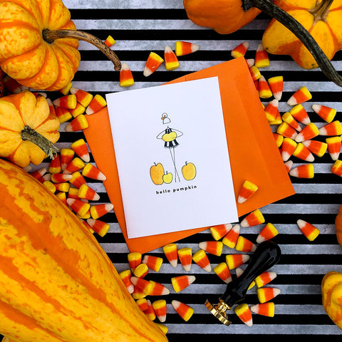 """HELLO PUMPKIN"" HALLOWEEN CARD"