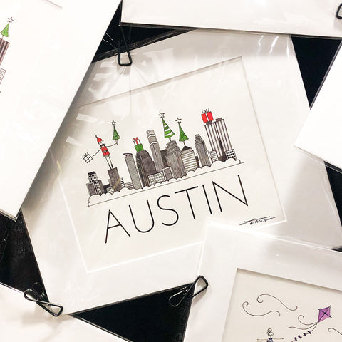 """AUSTIN SKYLINE: HOLIDAY"" ART PRINT"