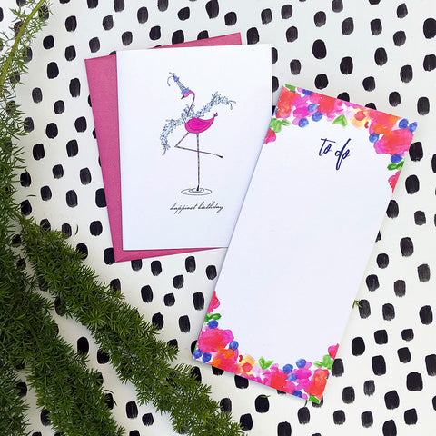 """FESTIVE FLAMINGO"" BIRTHDAY CARD"