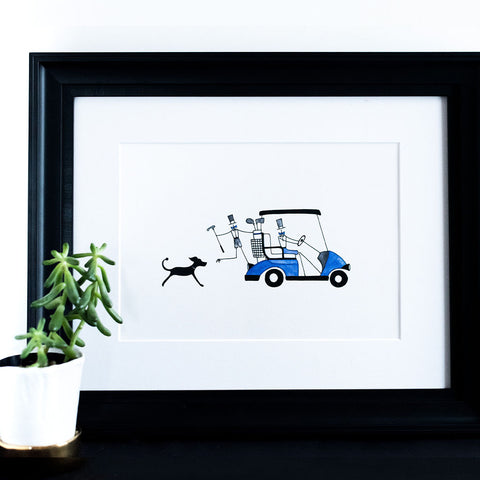 """FATHER'S DAY GOLF CART"" ART PRINT"