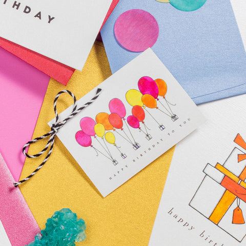"""BRIGHT BALLOONS"" GIFT TAGS - SET OF 10"