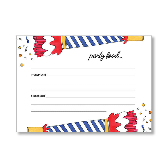 """PARTY HORN"" RECIPE CARDS"