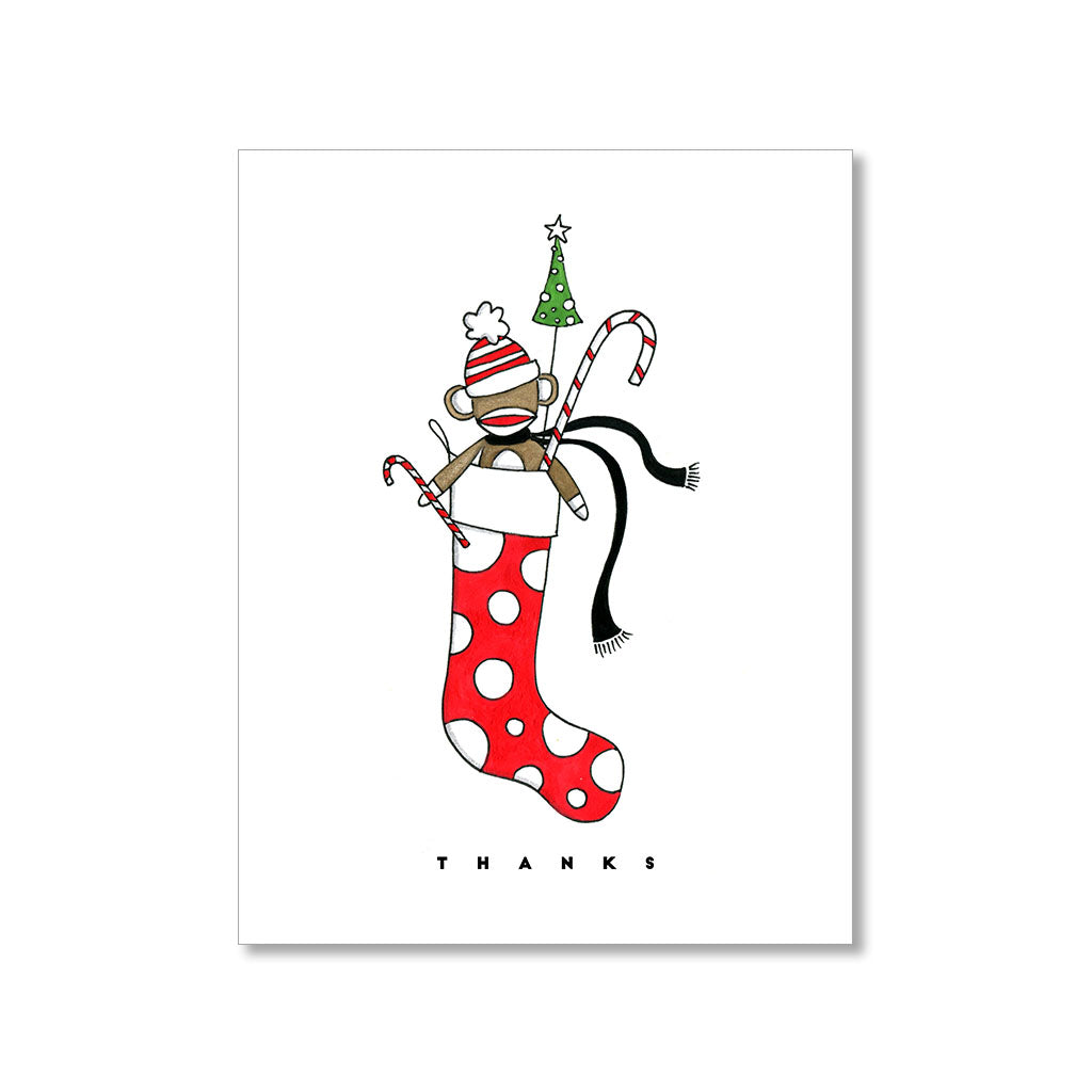 """SOCK MONKEY"" THANK YOU CARD"
