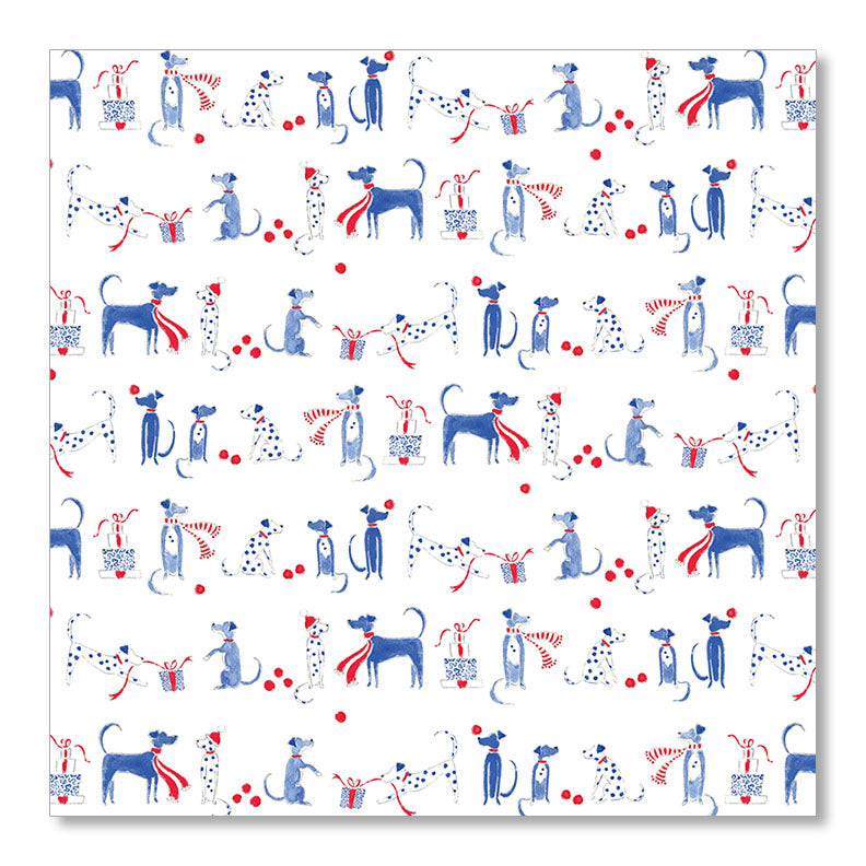 """CHRISTMAS DOGS IN BLUE"" WRAPPING PAPER"
