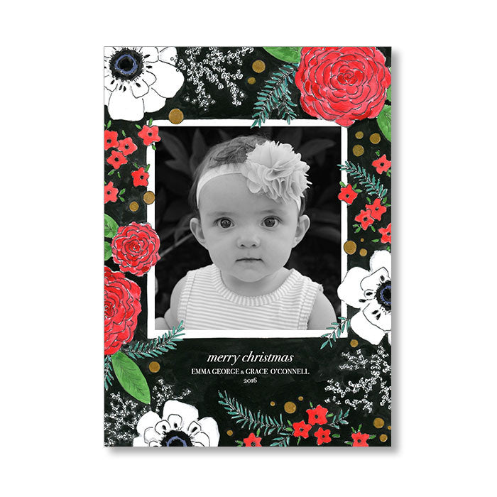 """HOLIDAY BLOOMS"" HOLIDAY PHOTO CARD"