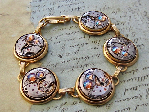 Steampunk Jewelry Bracelet - In the Works - Steampunk watch parts bracelet - Charm Bracelet