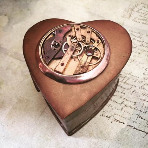 Steampunk Heart Gift / Jewelry Box - Victorian Style - Brass - Velvet lined