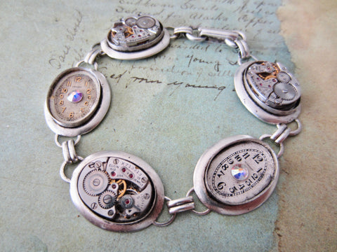 Steampunk Jewelry Bracelet - In the Works - Steampunk watch parts charm bracelet