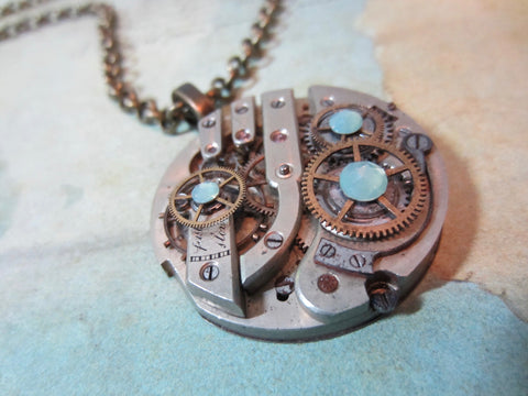 Steampunk Pendant - Time Lock - Steampunk Necklace- Steampunk jewelry handmade with real vintage watch and pocket watch parts