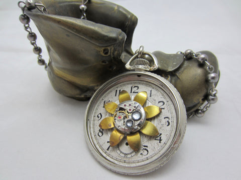 "Steampunk jewelry necklace- ""Springtime"" - Pocket Watch Case- Pendant- Necklace - Upcycled wearable art"