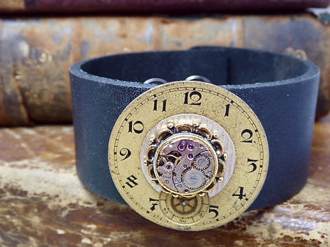 Steampunk Bracelet Cuff - Repurposed art -Upcycled - Recycled - Leather