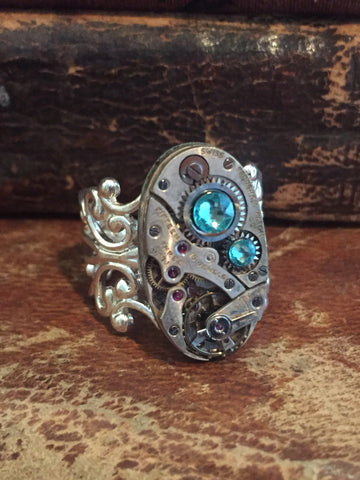 Back in time XI- Steampunk Ring - Repurposed recycled beautiful timepiece watch movement ring Tourquois Swarovski crystals