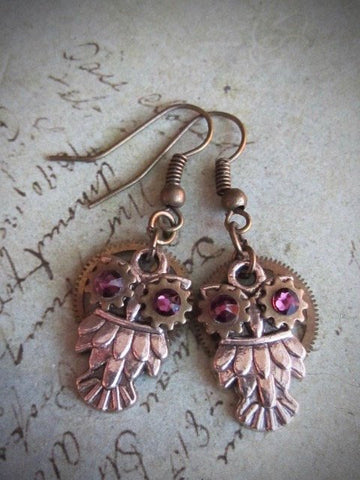 Steampunk owl earring , Steampunk earrings , Owls , Amethyst Birthstone