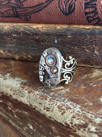 Back in time XI- Steampunk Ring - Repurposed recycled beautiful timepiece watch movement ring sapphire topaz