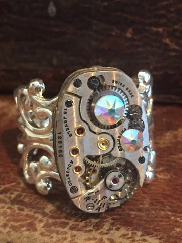 Back in time XI- Steampunk Ring - Repurposed recycled beautiful timepiece watch movement ring Borealis Swarovski crystals