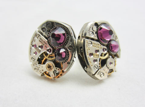 Steampunk Stud Earrings with Mechanical Watch Movement - Post Earrings - Amethyst - February Birthstone - Steampunk jewelry - gift for mom