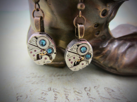 Deep Blue  - Steampunk Earrings - Unique - One of a kind - Great for stocking stuffer or birthday gift