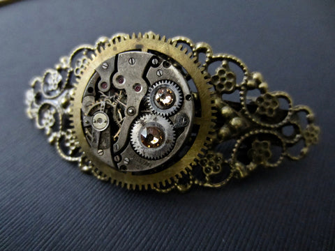 Vintage watch parts and Topaz BARRETTE - Hair Barrette - Hair Clip - Steampunk - Hair Clips- Hair Accessories - One of a kind - unique