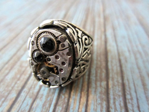 Steampunk Ring - Black / Onyx Ring - For Her - Hamilton Watch Movement Ring - For Him - Antique Silver - Adjustable Victorian Ring - Unisex
