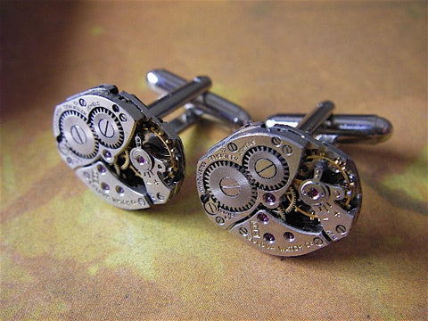 Steampunk Cufflinks - Bulova - Steampunk Cuff Links -Recycled watch movements