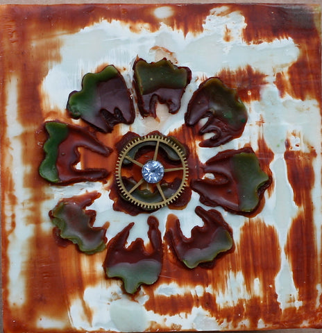 STeampunk Garden II  - Encaustic - Found Object - Mixed Media- Original Art